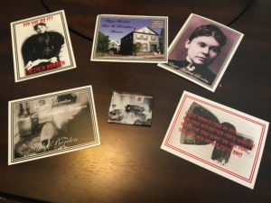 Assorted Lizzie Borden postcards and magnets