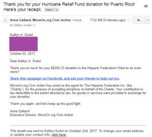 Hurricane Relief donationof $266.22